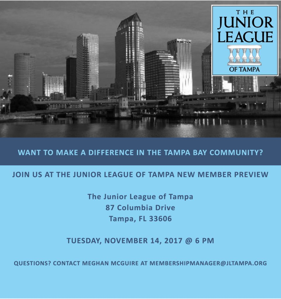 The Junior League of Tampa, Membership, Becoming a Member, New Member Preview, Applying for Membership